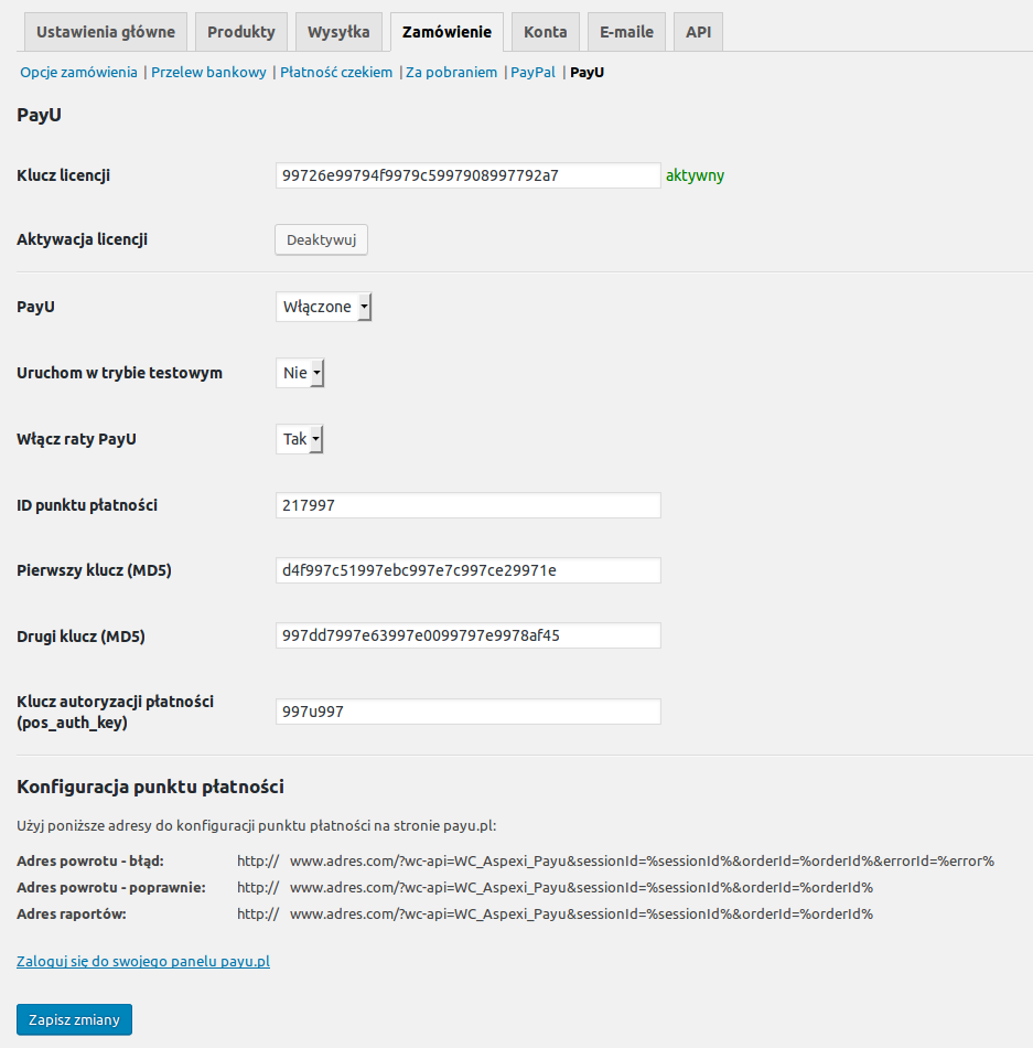 Panel konfiguracji pluginu